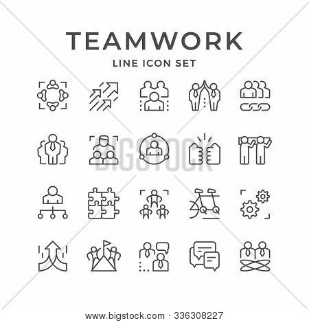 Set Line Icons Of Teamwork Isolated On White. Company Meeting, Leader, Business Cooperation, Team St