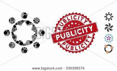 Collage Union Corporation Icon And Grunge Stamp Seal With Publicity Phrase. Mosaic Vector Is Formed