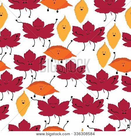 Cute Kawaii Style Seamless Pattern With Leaves On White Background; Vector Illustration;