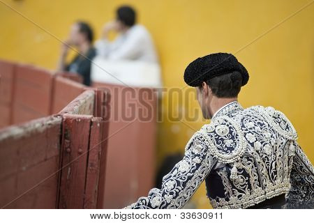 Bullfighter In Silver And Marine Blue.