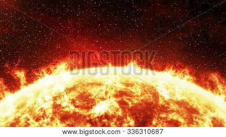 Close-up Of The Sun Burning Brightly On A Stellar Background