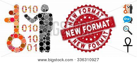 Mosaic Decode Key Icon And Corroded Stamp Seal With New Format Text. Mosaic Vector Is Formed From De