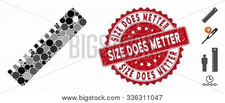 Mosaic Ruler Icon And Rubber Stamp Seal With Size Does Metter Phrase. Mosaic Vector Is Formed With R