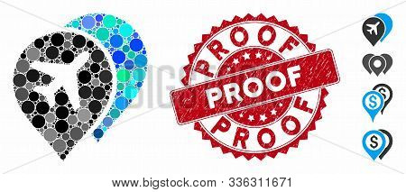 Mosaic Airport Map Markers Icon And Rubber Stamp Seal With Proof Caption. Mosaic Vector Is Created F