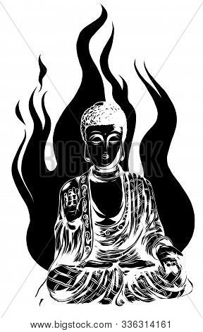 Vector Religious Icon Of Buddha Statue. Golden Buddha Sits And Prays In The Lotus Position.