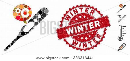 Collage Celsius Temperature Icon And Grunge Stamp Watermark With Winter Phrase. Mosaic Vector Is For