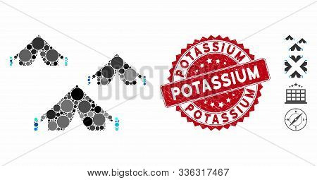 Mosaic Tent Camp Icon And Grunge Stamp Seal With Potassium Caption. Mosaic Vector Is Created With Te