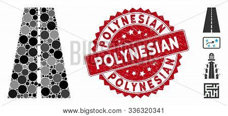 Mosaic Straight Road Icon And Corroded Stamp Seal With Polynesian Text. Mosaic Vector Is Composed Wi