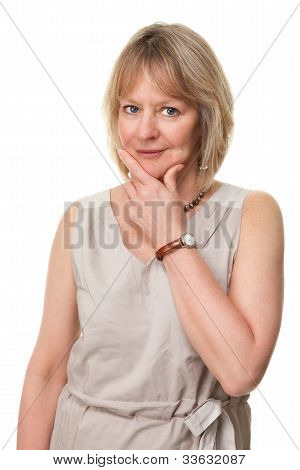 Woman with Hand to Face and Thoughtful Expression