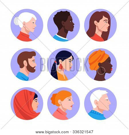 A Set Of Peoples Faces In Profile: Men, Women, Young And Elderly Of Different Races And Nations. Div