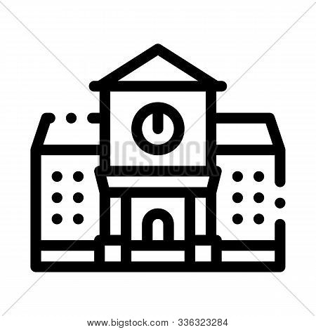 Academy Study Building Icon Vector. Outline Academy Study Building Sign. Isolated Contour Symbol Ill
