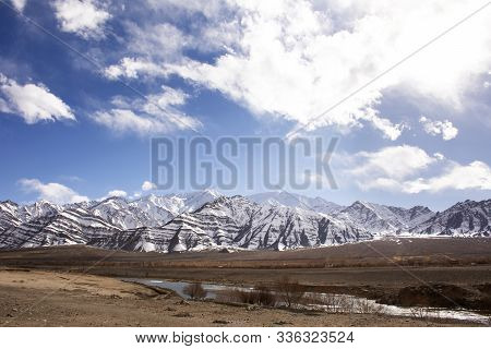 View Landscape High Range Mountain And Sindhu Or Indus River On Leh Manali And Srinagar Leh Highway