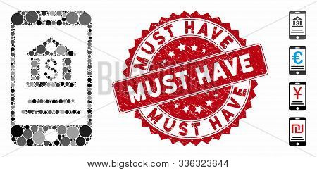 Mosaic Mobile Banking Icon And Grunge Stamp Watermark With Must Have Caption. Mosaic Vector Is Creat