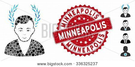 Mosaic Man Glory Icon And Grunge Stamp Seal With Minneapolis Caption. Mosaic Vector Is Formed With M