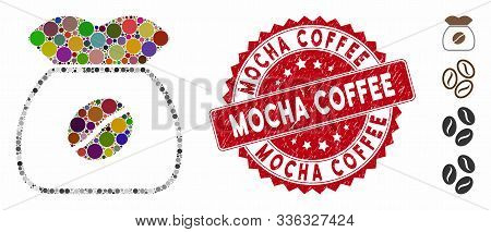 Mosaic Coffee Grain Icon And Grunge Stamp Seal With Mocha Coffee Phrase. Mosaic Vector Is Composed W