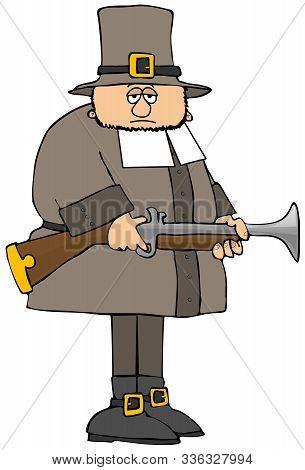 Illustration Of A Sad Looking Pilgrim Holding His Blunderbuss Gun.