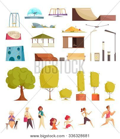 City Park Flat Set With Lanterns Trees Benches Skateboarding Elements Swing Runners Walking Knitting
