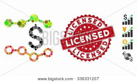 Mosaic Financial Report Icon And Rubber Stamp Seal With Licensed Phrase. Mosaic Vector Is Designed W
