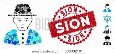 Mosaic Jew Icon And Rubber Stamp Watermark With Sion Text. Mosaic Vector Is Created With Jew Icon An