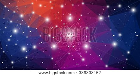 Widescreen Futuristic Technology Illustration In Front Of Outer Space Background With Copy Space. Cy