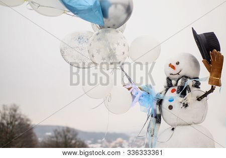New Year Greeting Card With Snowman. Happy Winter Time. Snowman Gentleman In Stylish Hat, Scarf, Glo