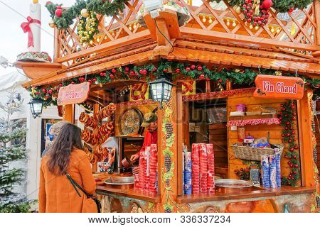 PARIS, FRANCE - November 17, 2019: Traditional stalls at the Tuileries Garden Christmas Market in Paris