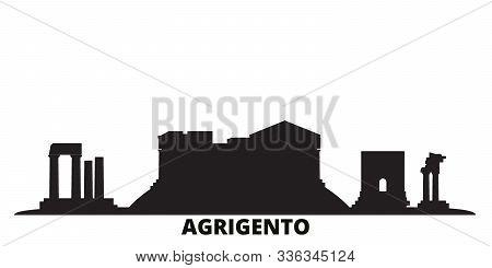 Italy, Agrigento City Skyline Isolated Vector Illustration. Italy, Agrigento Travel Black Cityscape