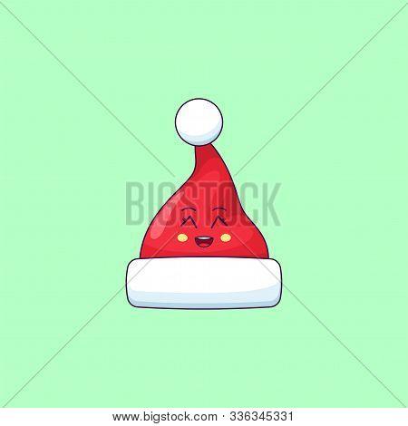 Cartoon Kawaii Santa Hat With Grinning Face. Cute Santa Claus Hat For Christmas Celebration, Childis