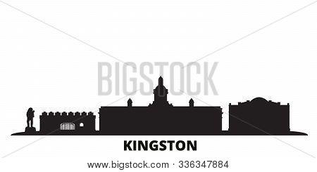 Jamaica, Kingston City Skyline Isolated Vector Illustration. Jamaica, Kingston Travel Black Cityscap
