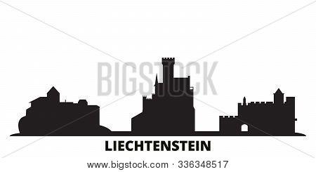Liechtenstein City Skyline Isolated Vector Illustration. Liechtenstein Travel Black Cityscape