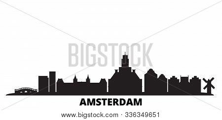 Netherlands, Amsterdam City City Skyline Isolated Vector Illustration. Netherlands, Amsterdam City T
