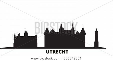 Netherlands, Utrecht City Skyline Isolated Vector Illustration. Netherlands, Utrecht Travel Black Ci