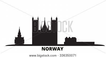 Norway City Skyline Isolated Vector Illustration. Norway Travel Black Cityscape