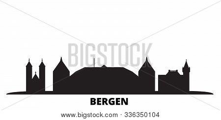 Norway, Bergen City Skyline Isolated Vector Illustration. Norway, Bergen Travel Black Cityscape