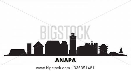Russia, Anapa City Skyline Isolated Vector Illustration. Russia, Anapa Travel Black Cityscape