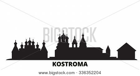 Russia, Kostroma City Skyline Isolated Vector Illustration. Russia, Kostroma Travel Black Cityscape