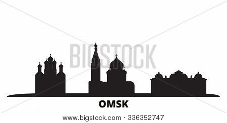 Russia, Omsk City Skyline Isolated Vector Illustration. Russia, Omsk Travel Black Cityscape