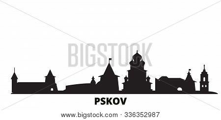 Russia, Pskov city skyline isolated vector illustration. Russia, Pskov travel black cityscape poster