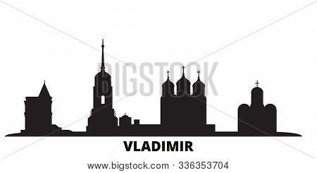 Russia, Vladimir City Skyline Isolated Vector Illustration. Russia, Vladimir Travel Black Cityscape