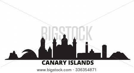 Spain, Canary Islands City Skyline Isolated Vector Illustration. Spain, Canary Islands Travel Black