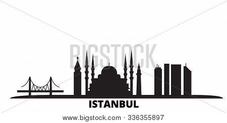 Turkey, Istanbul City Skyline Isolated Vector Illustration. Turkey, Istanbul Travel Black Cityscape