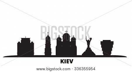 Ukraine, Kiev City Skyline Isolated Vector Illustration. Ukraine, Kiev Travel Black Cityscape