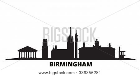 United Kingdom, Birmingham City Skyline Isolated Vector Illustration. United Kingdom, Birmingham Tra