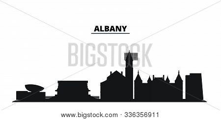 United States, Albany City Skyline Isolated Vector Illustration. United States, Albany Travel Black