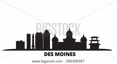 United States, Des Moines City Skyline Isolated Vector Illustration. United States, Des Moines Trave