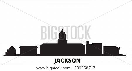 United States, Jackson City Skyline Isolated Vector Illustration. United States, Jackson Travel Blac