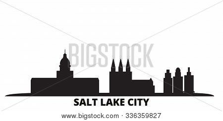 United States, Salt Lake City City Skyline Isolated Vector Illustration. United States, Salt Lake Ci