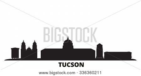 United States, Tucson City Skyline Isolated Vector Illustration. United States, Tucson Travel Black