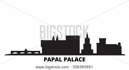 France, Papal Palace, Episcopal Ensemble Avignon Bridge city skyline isolated vector illustration. France, Papal Palace, Episcopal Ensemble Avignon Bridge travel black cityscape poster