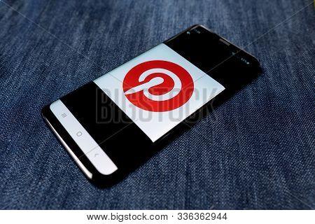 Odessa, Ukraine - October 26, 2019: Pinterest App. Pinterest Logo Visible On Smartphone Screen. Deni